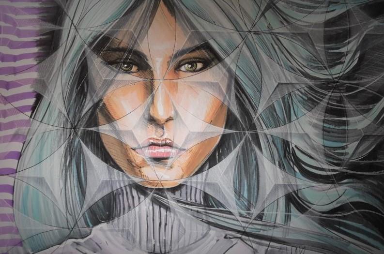 Comic art van vrouw. Gemaakt door striptekenaar Jaap Roos