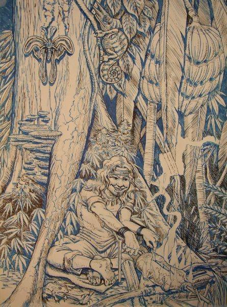 Comic tekening waarbij ikzelf aan t bbq-en ben in de jungle. Gemaakt door cartoonist Jaap Roos