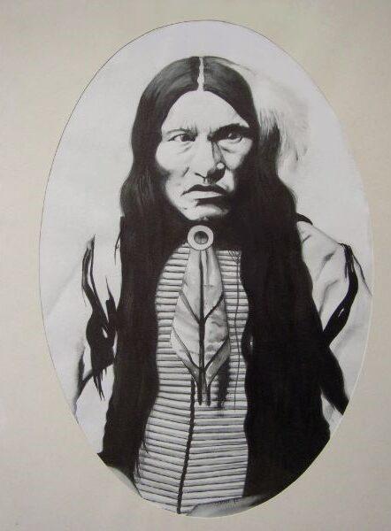 Schilderij van een indiaan. Kicking bear geschilderd met ecoline in het zwart-wit