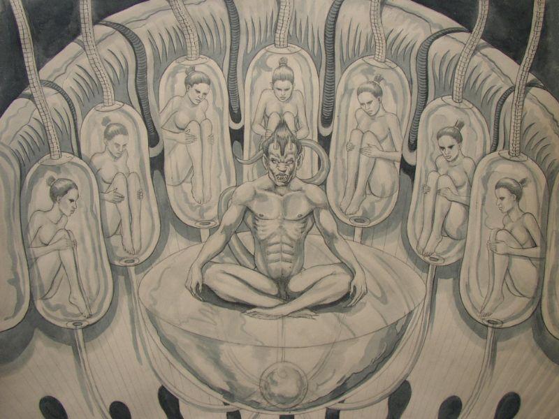 schilderij vrouwen in pod