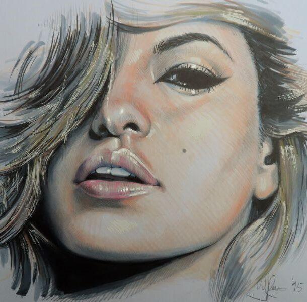 Kunstige tekening van het gezicht bekend uit de filmindustrie van Eva Mendez