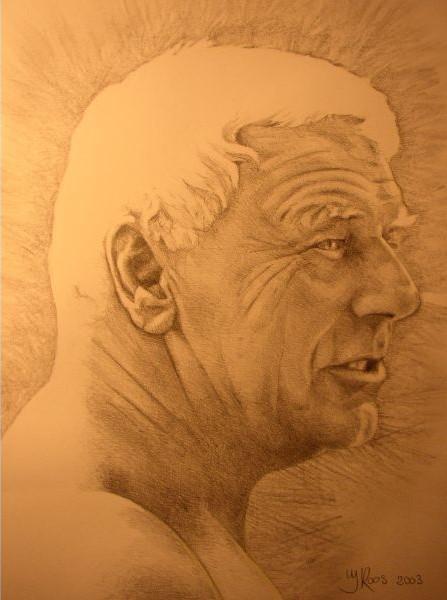 Schilderij van overleden mijn overleden opa. Deze portrettekening werd tentoongesteld gedurende de crematiedienst op zijn kist