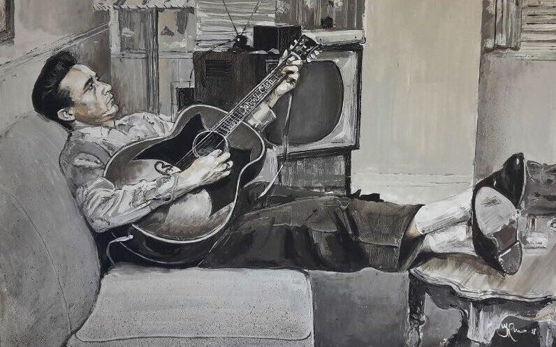 Johnny Cash op linnen doek spelend op zijn gitaar, geschilderd door kunstschilder Jaap Roos