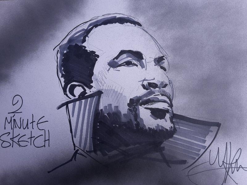 Snelle schets kunst. Deze tekening bevat het portret van een bekende muzikant Marvin Gaye. Deze schets is binnen 2 minuten gemaakt door snelschetser Jaap Roos. Leuk ter demonstratie een kunstenaar in actie te zien.