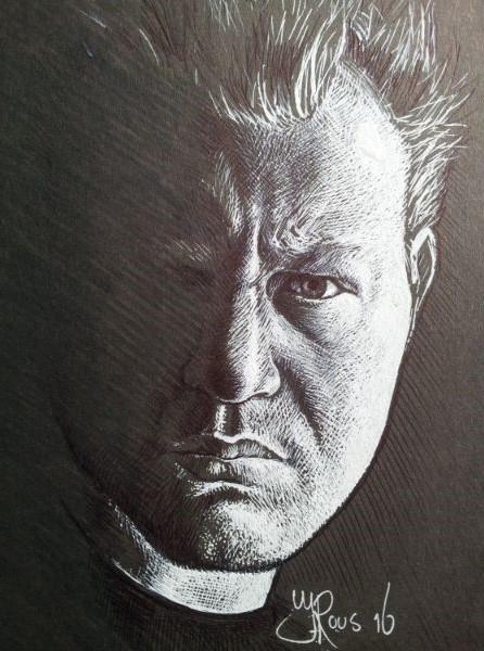 Kunstig portret van kunstenaar Jaap Roos, getekend door Jaap Roos