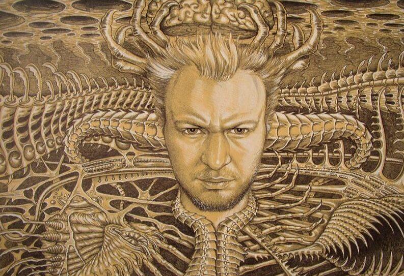 Sci-Fi portret van gezicht van Jaap Roos erin verwerkt. Uniek portret met science fiction erin verwerkt met mijn eigen gezicht erin verwerkt.