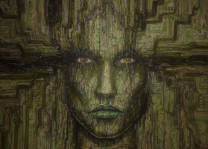 Surrealistisch sci-fi schilderij. Zeer origineel en uniek ontwerp van een cyborg vrouwen gezocht bestaande uit computer printplaat patronen