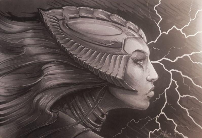 Tekening eigen ontwerp van een sci-fi vrouw gezicht . Getekend en ontworpen door Jaap Roos art.