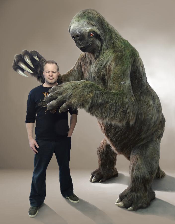 reuzengrondluiaard Megatherium (familie van de Eremotherium)kunstobject gemaakt door paleokunstenaar Jaap Roos art