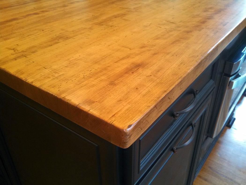 kitchen counter options 60 40 sink distressed wood countertops - j. aaron