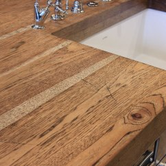 Hickory Kitchen Island Brown Sink Distressed Wood Countertops - J. Aaron