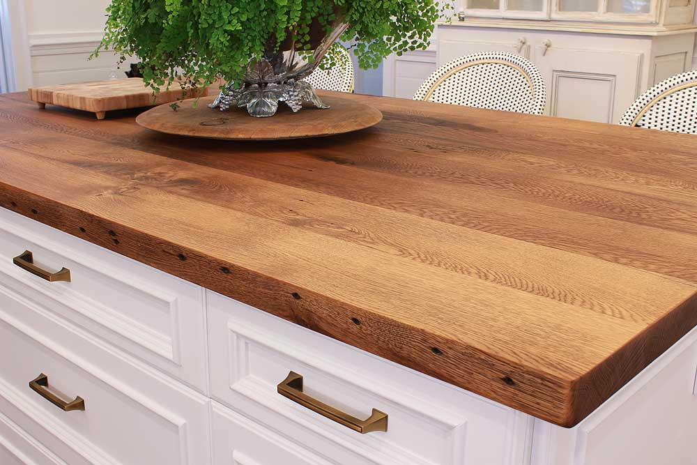 wood countertops kitchen chairs using reclaimed is a responsible and beautiful choice for your oak island