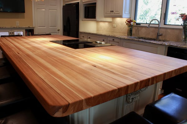 kitchen island top outdoor cabinets stainless steel hickory countertops j aaron butcher block