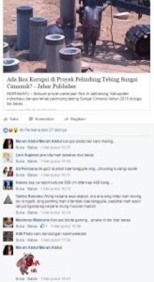 INILAH komentar-komentar netizen terkait dugaan penyimpangan proyek pelindung tebing Sungai Cimanuk di Jatibarang.