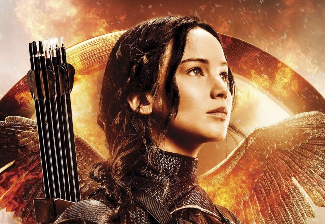 Katniss Everdeen, the Mockingjay. Played by Jennifer Lawrence.