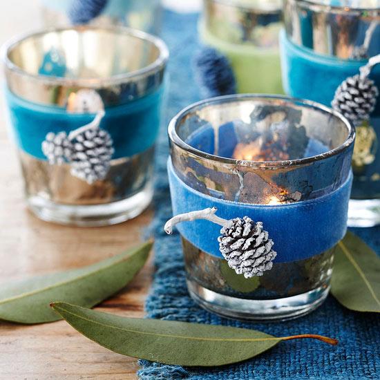 Vasos para velas en azul