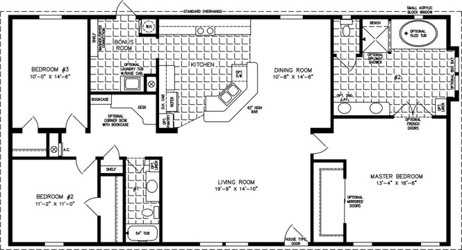 Manufactured Home Floor Plan The T N R Model Tnr 4582w 3 Bedrooms 2 Exterior Rendering Jacobsen Homes
