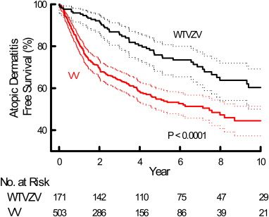 Association between varicella zoster virus infection and