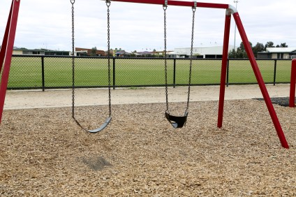 The swings are on the left