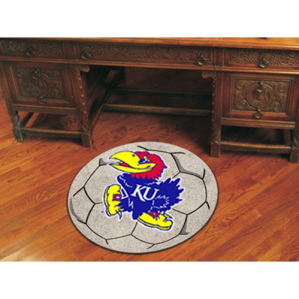U Of Kansas University Soccer Ball Rug