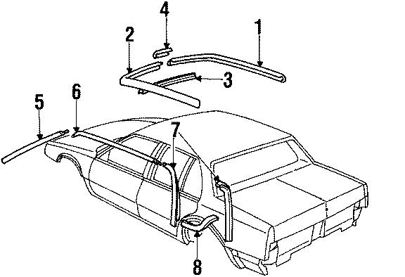 Buick Lesabre Reveal molding. 4 DOOR, post. 4 door, side