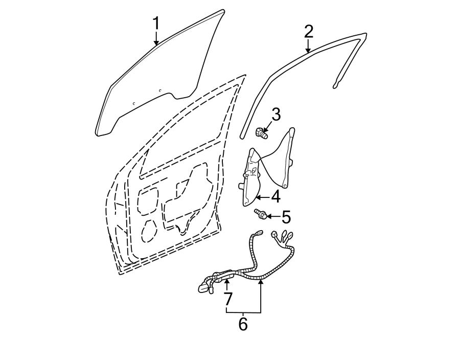 Buick Rendezvous Door Wiring Harness (Front). W/o seat