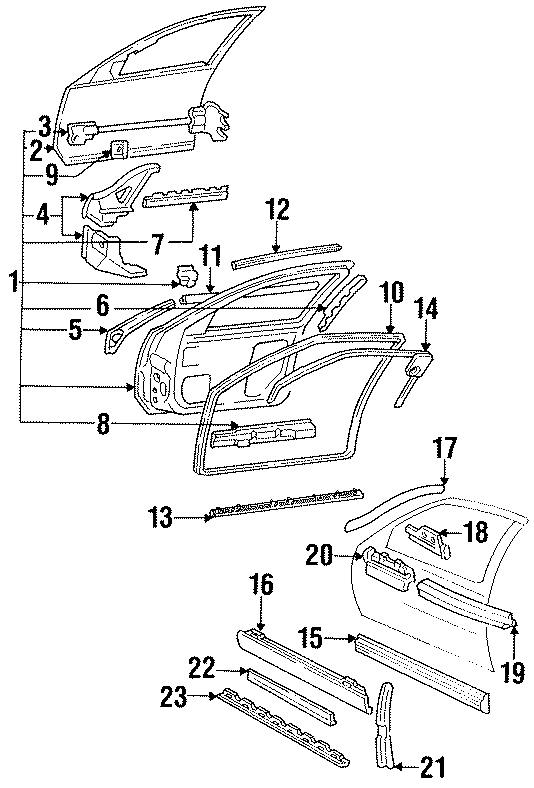 Buick Regal Body side Molding. 2 DOOR, black & chrome