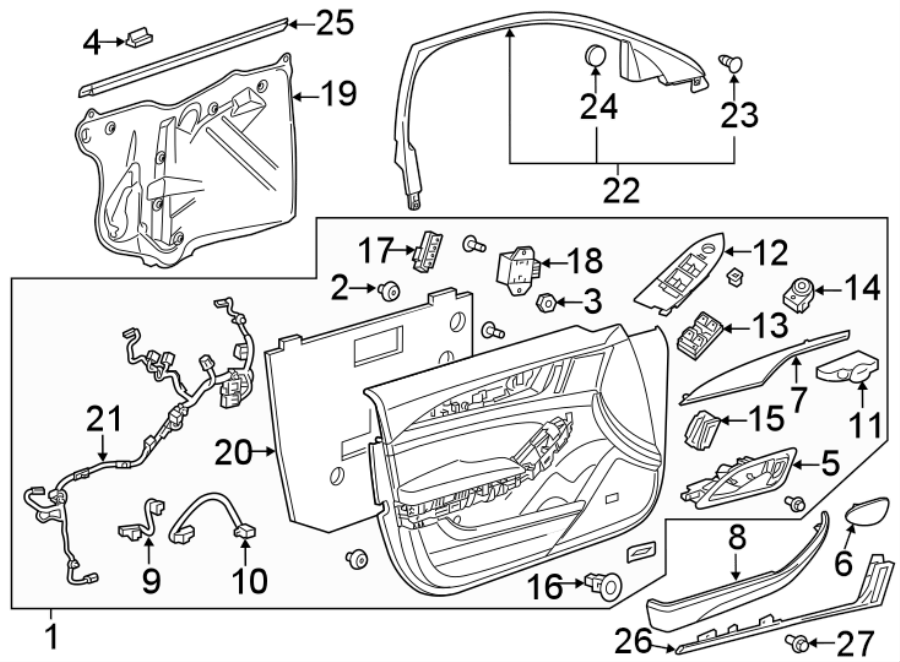 Cadillac CTS Door Wiring Harness. Wire harness. W/CTS V