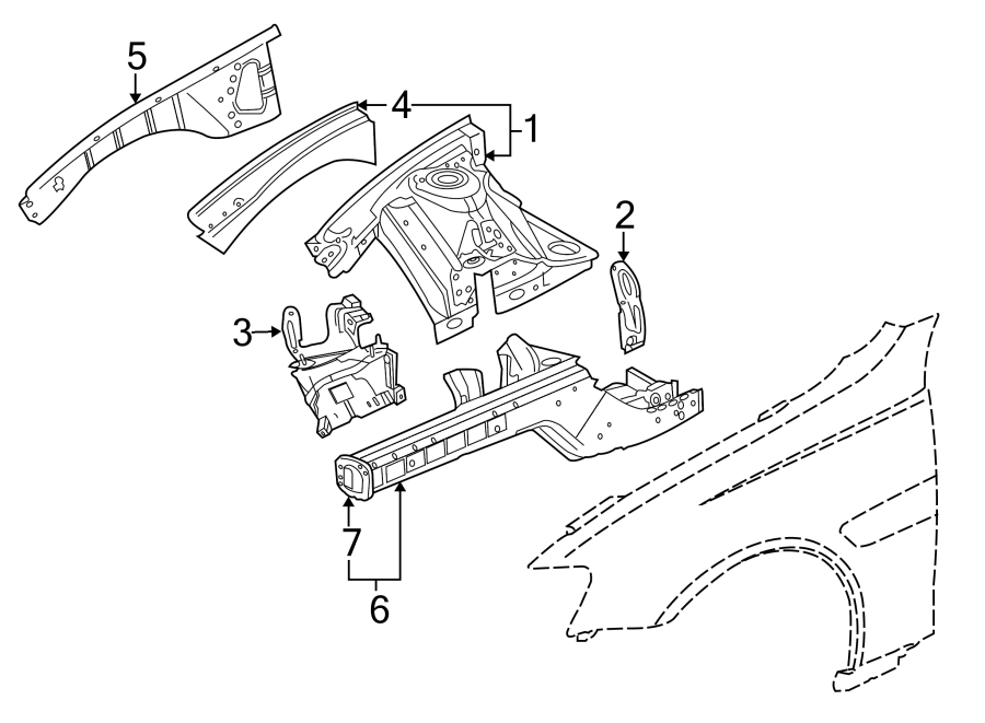 Chevrolet Caprice Panel. Apron. REINFORCED. /rail ASSEMBLY