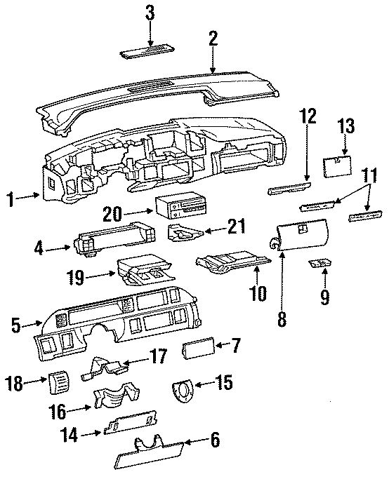 Chevrolet Caprice Fuse box cover. 1991-93. PANEL, MOTORS