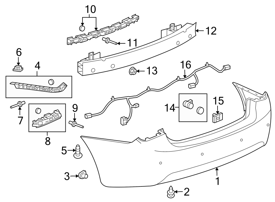 Chevrolet Cruze Parking Aid System Wiring Harness (Rear