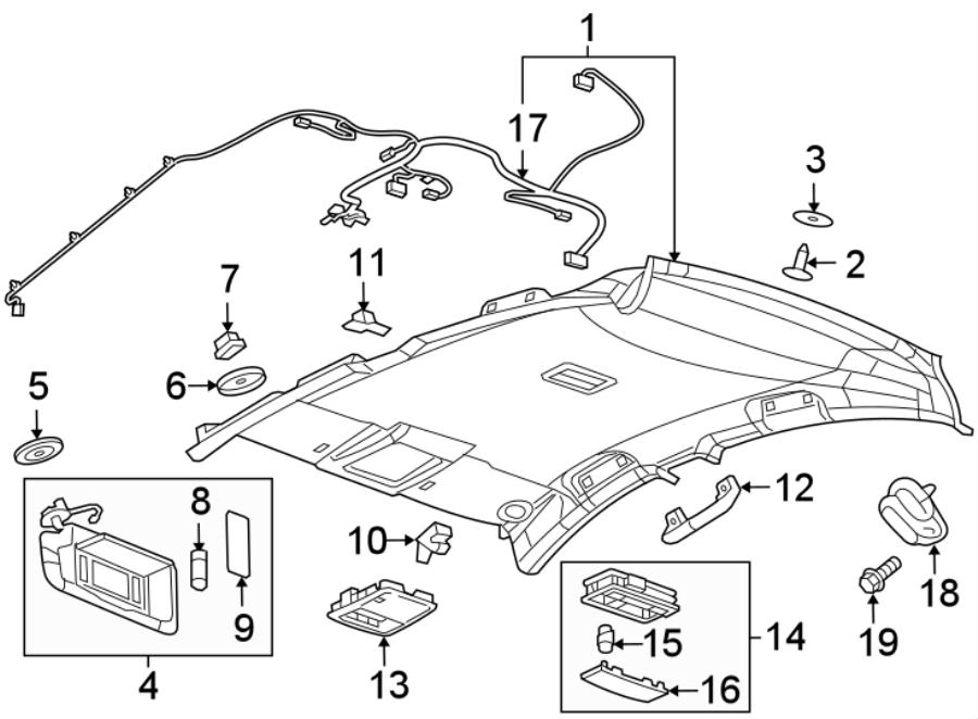 Chevrolet Cruze Headliner Wiring Harness. SEDAN, w/o