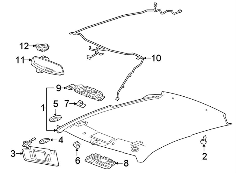 Chevrolet Camaro Headliner Wiring Harness. COUPE, w