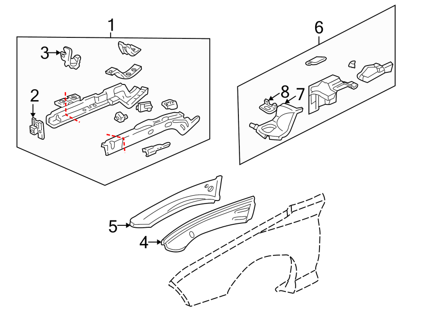 Chevrolet Camaro Frame Rail End (Front). Part included