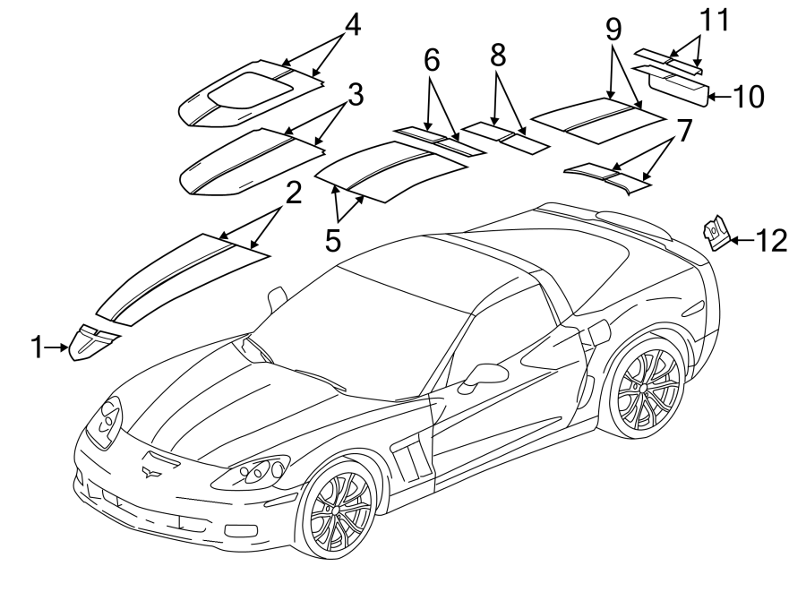 Chevrolet Corvette Bumper Decal. CENTENNIAL EDITION, body