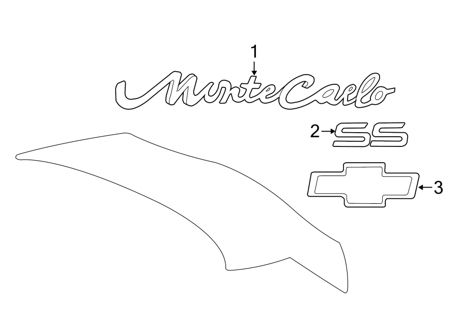 Chevrolet Monte Carlo Deck Lid Emblem. MONTE CARLO, chrome