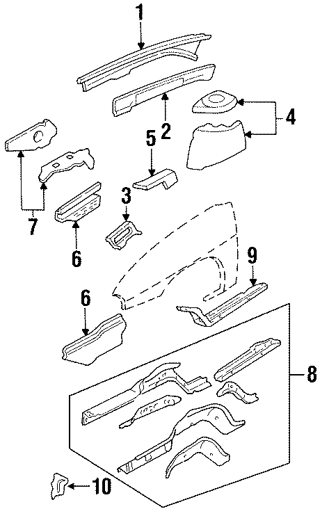 Chevrolet Monte Carlo Fender Apron Assembly (Front). Buick