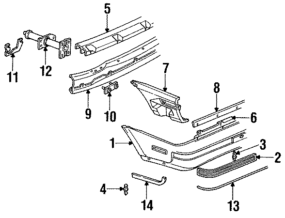 Chevrolet Cavalier Molding a. Cut to fit. 1988-90 coupe