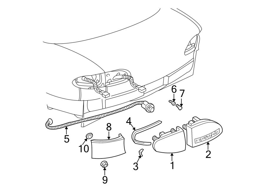 Chevrolet Cavalier Tail Light Harness. 1995-02, 4 door