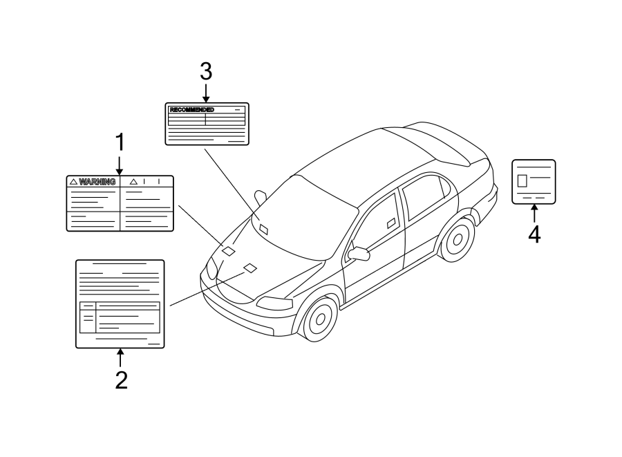 Chevrolet Aveo A/c system information label. 2nd design