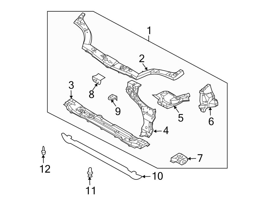 Chevrolet Aveo Radiator Support Panel (Front, Upper, Lower