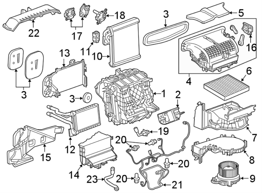 Chevrolet Malibu Hvac system wiring harness. W/o auto temp