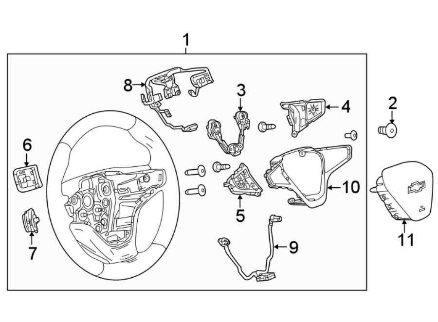 Chevrolet Malibu Steering Wheel Wiring Harness. W/heated