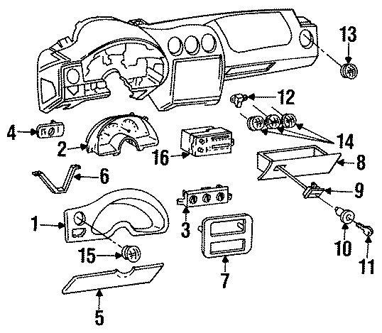 Pontiac Firebird Glove box door. 1997-02. 1997-02