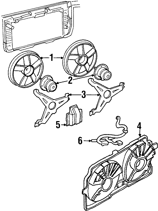 Pontiac Grand Prix Engine Cooling Fan Motor Bracket. 1997