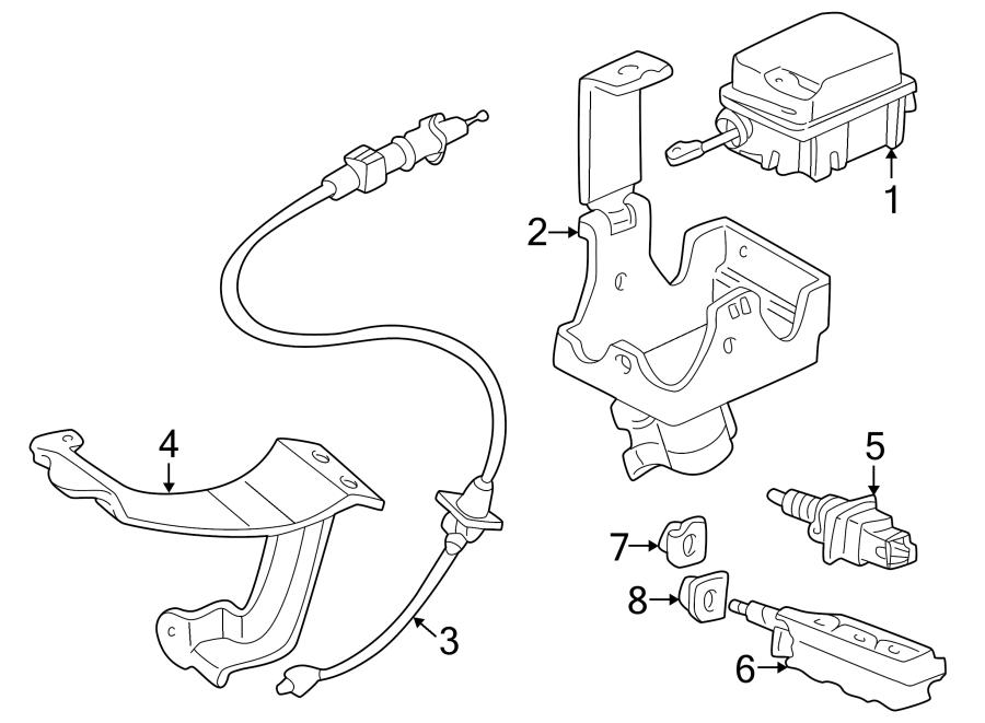 Pontiac Aztek Brake Light Switch Clip. Outboard. Outboard