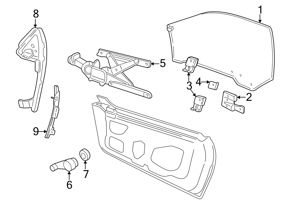 Pontiac Sunfire Window Regulator Guide (Rear). CONVERTIBLE