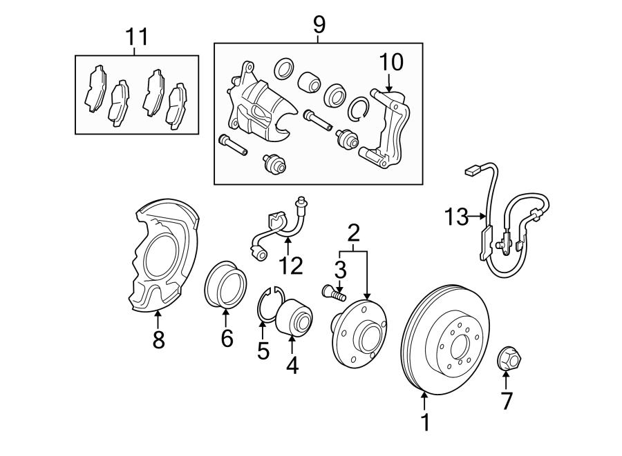 Pontiac Vibe Brake Dust Shield (Front). Vibe; 1.8L; Right