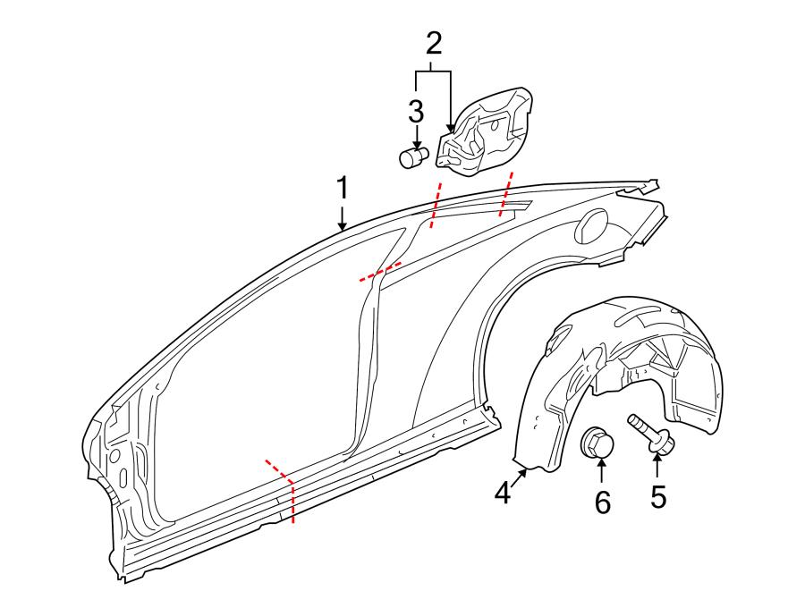 Pontiac G6 Quarter Panel Splash Shield (Rear). CONVERTIBLE