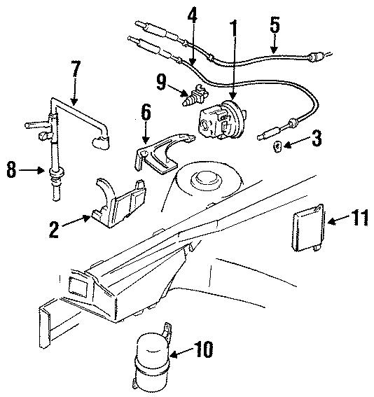 Pontiac Grand Am Retainer. CABLE. CLIP. Actuator. Lever